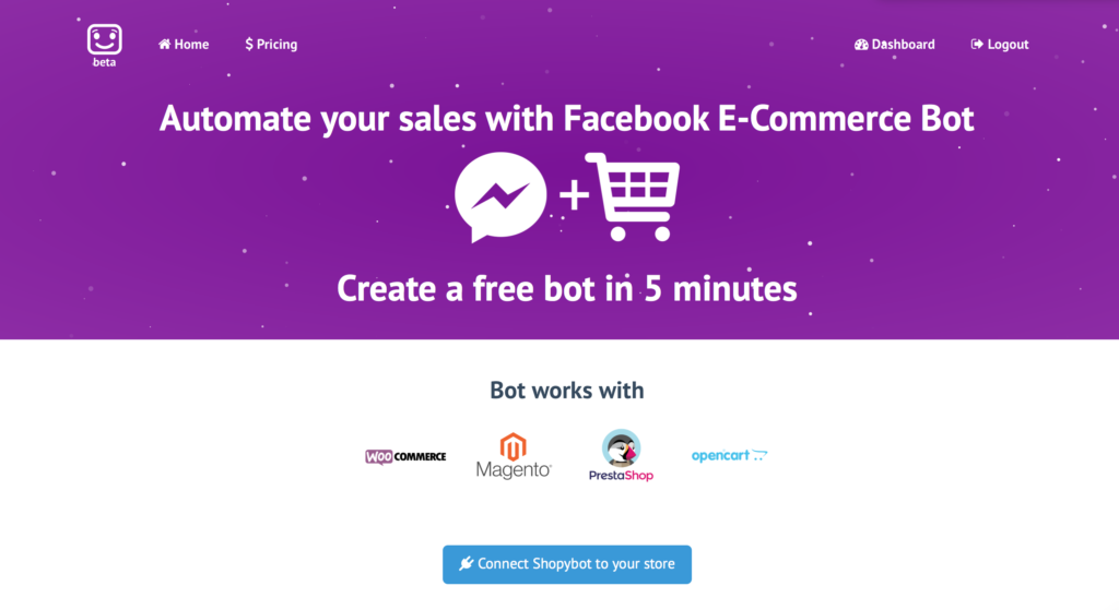 Shopybot homepage banner